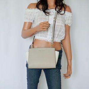 Michael Kors Selma Small Messenger Bag White Grey